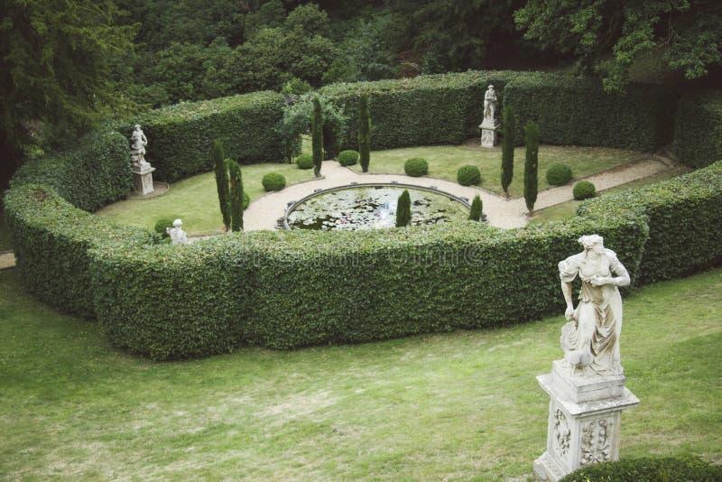 Επίσημος αγγλικός κήπος με τη λίμνη και τα παλαιά αγάλματα στοκ φωτογραφίες με δικαίωμα ελεύθερης χρήσης