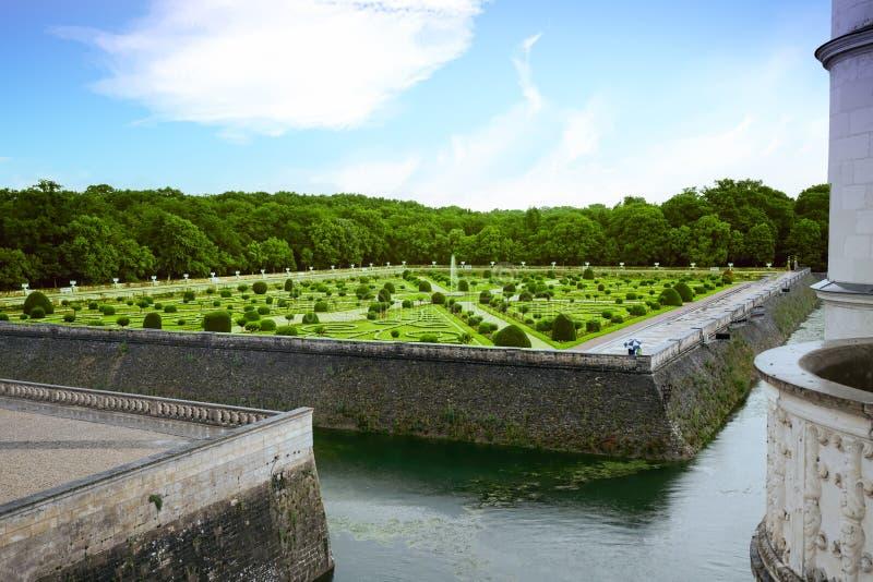 Επίσημος γαλλικός κήπος σε Chenonceau στοκ φωτογραφία με δικαίωμα ελεύθερης χρήσης