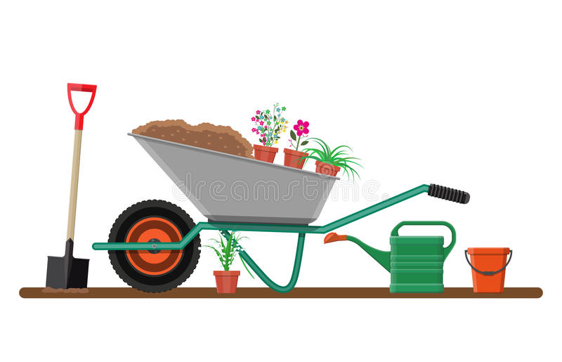 Επίσημος κήπος με wheelbarrow, λουλούδια, φτυάρι διανυσματική απεικόνιση