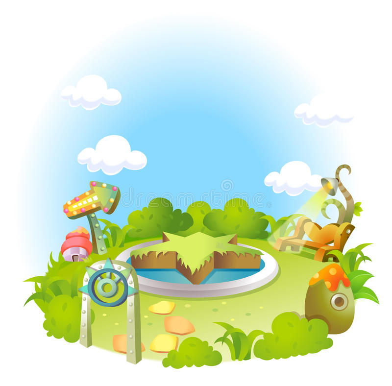 Επίσημος κήπος στο πράσινο τοπίο απεικόνιση αποθεμάτων