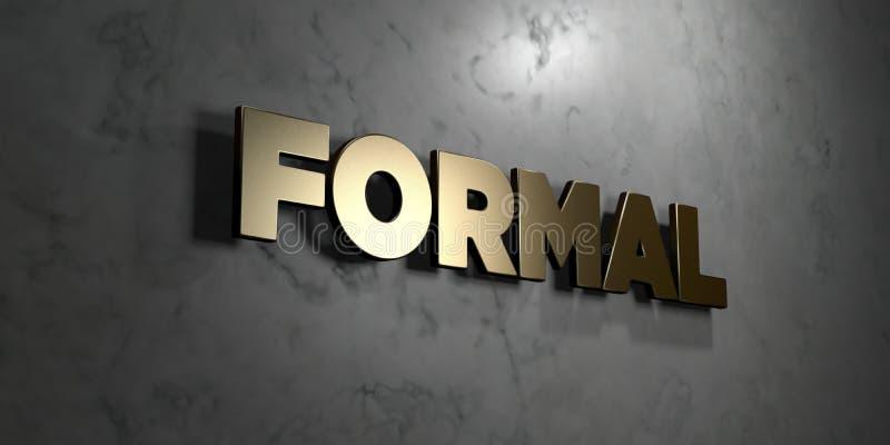 Επίσημος - το χρυσό σημάδι τοποθέτησε στο στιλπνό μαρμάρινο τοίχο - τρισδιάστατο δικαίωμα ελεύθερη απεικόνιση αποθεμάτων διανυσματική απεικόνιση