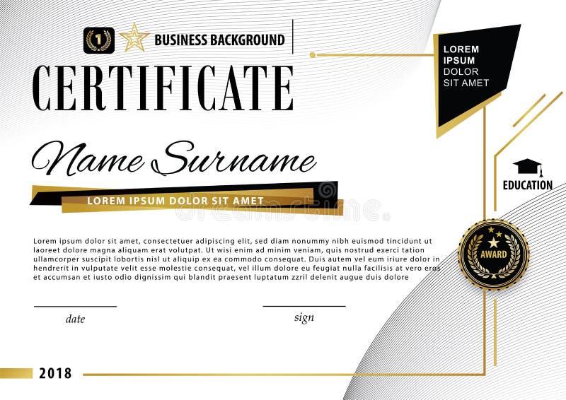 Επίσημο άσπρο σύγχρονο πιστοποιητικό με τα αφηρημένα μαύρα χρυσά στοιχεία σχεδίου Μαύρο έμβλημα, απεικόνιση αποθεμάτων
