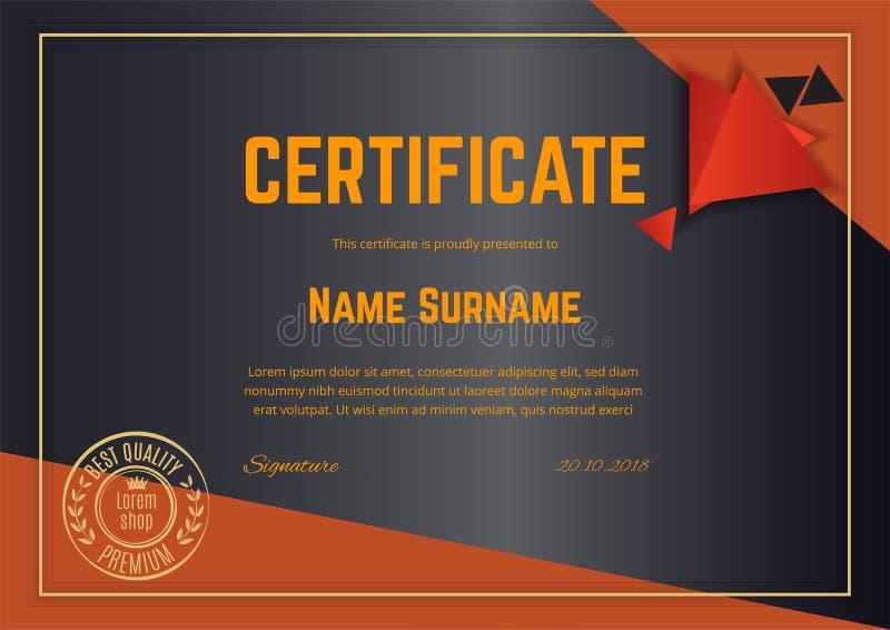 Επίσημο μαύρο πιστοποιητικό με τα πορτοκαλιά στοιχεία σχεδίου Επιχειρησιακό καθαρό σύγχρονο σχέδιο Αφηρημένο υπόβαθρο Trianlge απεικόνιση αποθεμάτων