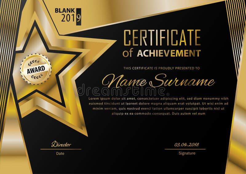Επίσημο μαύρο πιστοποιητικό με τα χρυσά στοιχεία σχεδίου Επιχειρησιακό σύγχρονο σχέδιο Χρυσό έμβλημα ελεύθερη απεικόνιση δικαιώματος