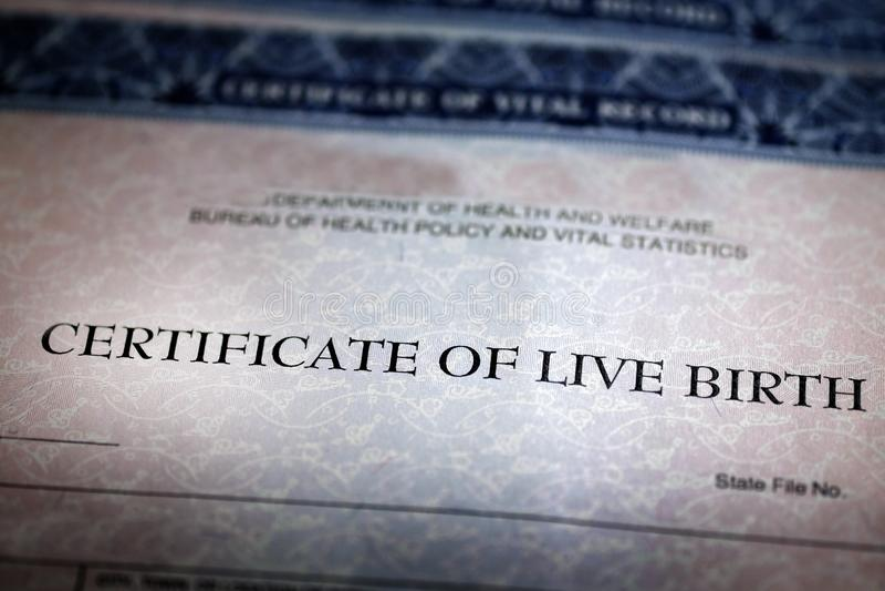 Επίσημο μωρό εγγράφου μορφής πιστοποιητικών γέννησης γεννημένο στοκ φωτογραφία με δικαίωμα ελεύθερης χρήσης