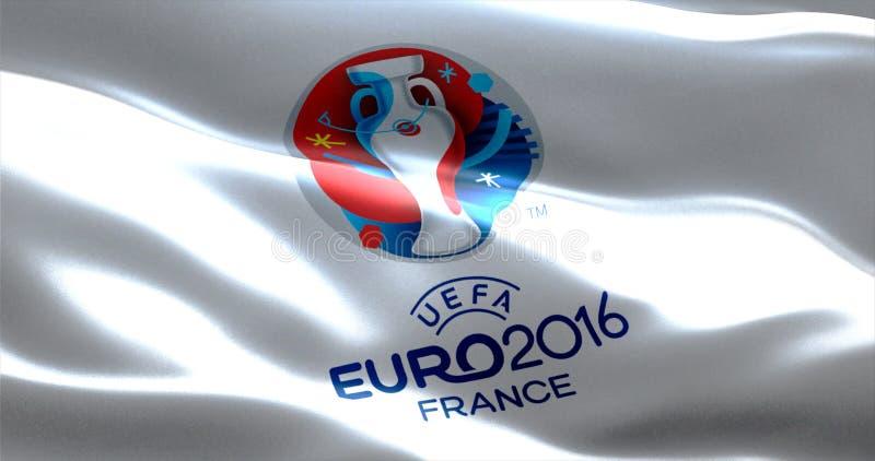Επίσημο λογότυπο του ευρο- ευρωπαϊκού πρωταθλήματος UEFA του 2016 στη Γαλλία, σημαία στοκ φωτογραφία