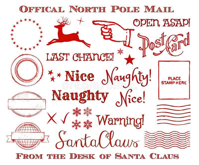 Επίσημο σύνολο τέχνης συνδετήρων ταχυδρομείου βόρειου πόλου Santa Χριστουγέννων διακοπών διανυσματική απεικόνιση