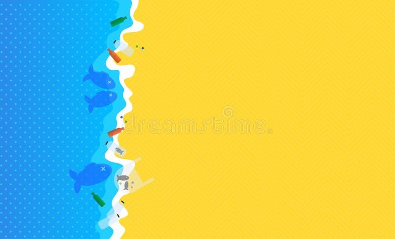 επίσης corel σύρετε το διάνυσμα απεικόνισης Αφίσα με το οικολογικό θέμα: Πλαστική ρύπανση του ωκεανού Απορρίματα στην παραλία ελεύθερη απεικόνιση δικαιώματος
