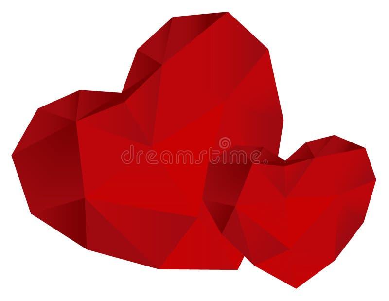 επίσης corel σύρετε το διάνυσμα απεικόνισης Δύο καρδιές origami από το κόκκινο έγγραφο απεικόνιση αποθεμάτων
