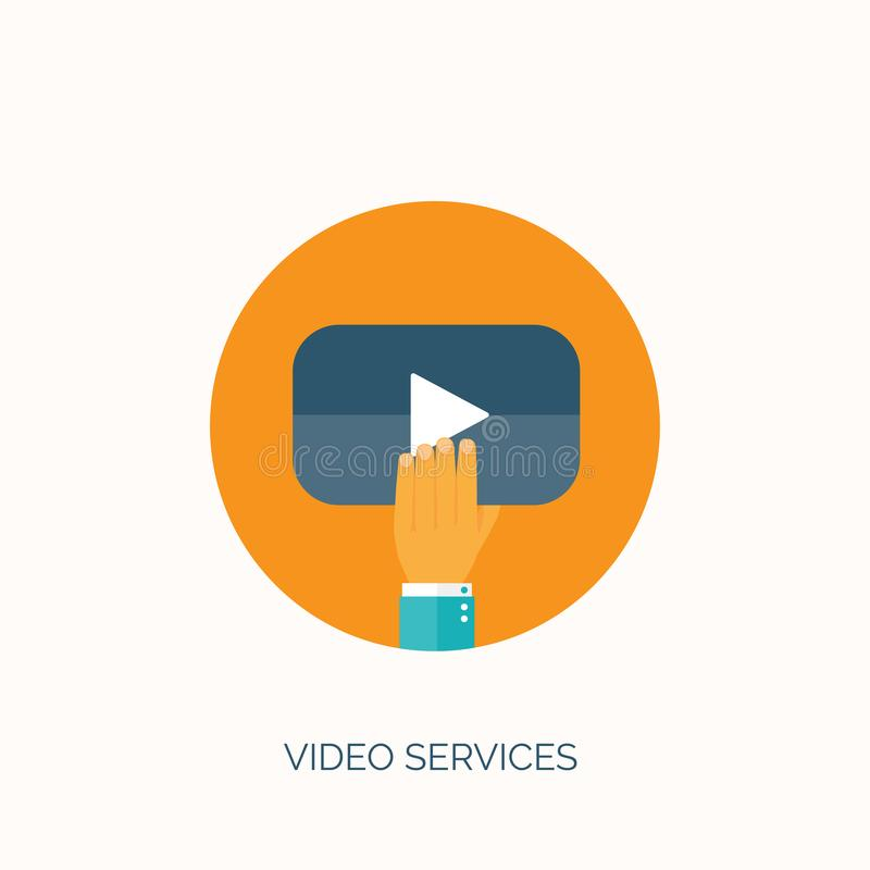 επίσης corel σύρετε το διάνυσμα απεικόνισης Επίπεδη τηλεοπτική φιλοξενία Σε απευθείας σύνδεση υπηρεσίες κινηματογράφων απεικόνιση αποθεμάτων