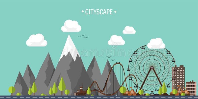 επίσης corel σύρετε το διάνυσμα απεικόνισης Ρόδα καρναβάλι Ferris Υπόβαθρο Funfair E Ουρανοξύστες με το βουνό ακτών κυλίνδρων απεικόνιση αποθεμάτων