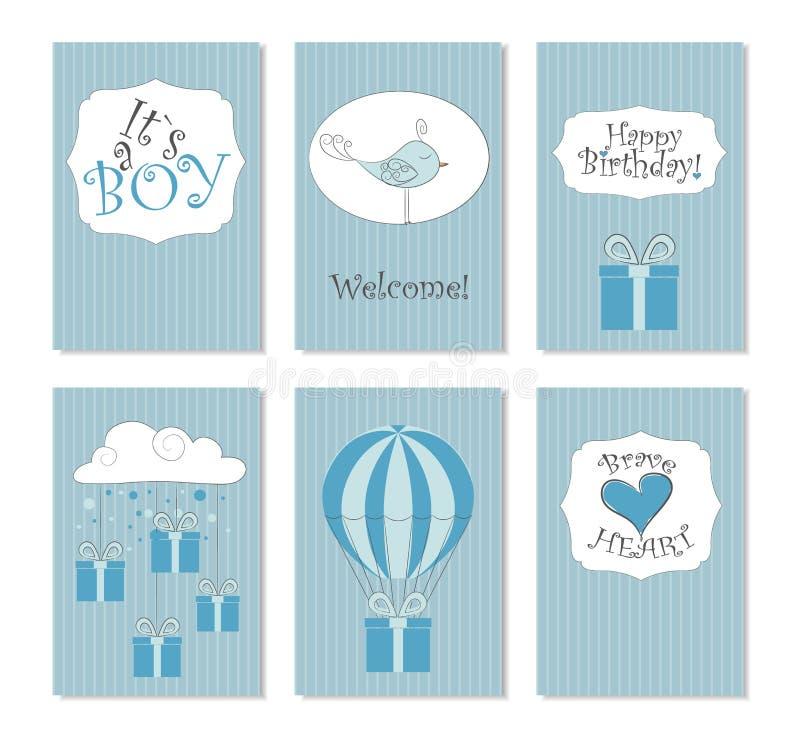 επίσης corel σύρετε το διάνυσμα απεικόνισης Σύνολο 6 εκτυπώσιμων καρτών Τελειοποιήστε στις νεογέννητες κάρτες γενεθλίων, κάρτες,  απεικόνιση αποθεμάτων