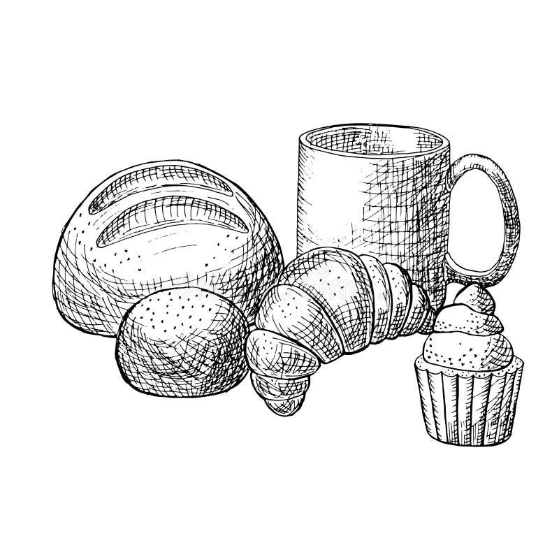 επίσης corel σύρετε το διάνυσμα απεικόνισης Ψωμί, croissant, muffin, φλυτζάνι του τσαγιού, γραπτό hand-drawn σκίτσο ελεύθερη απεικόνιση δικαιώματος