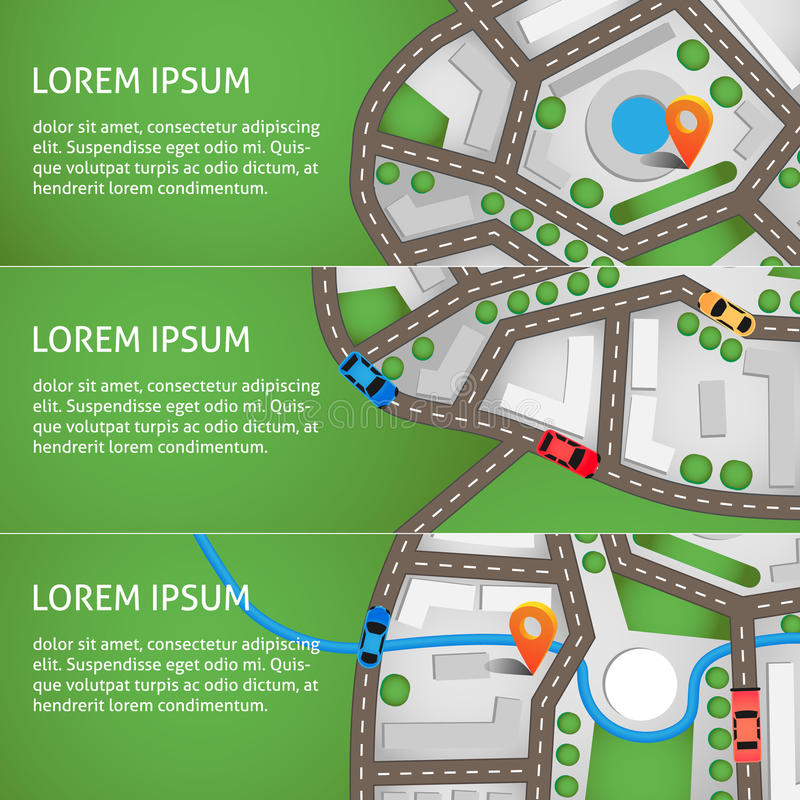 επίσης corel σύρετε το διάνυσμα απεικόνισης Τοπ άποψη χαρτών πόλεων με τους δρόμους, τα ζωηρόχρωμα αυτοκίνητα και την πορτοκαλιά  στοκ εικόνες
