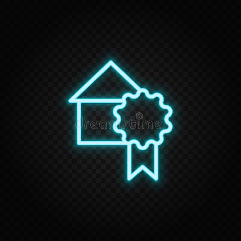 επίτευγμα, βραβείο, σπίτι, εικονίδιο νέον μεταλλίου Εικονίδιο διάνυσματος μπλε και κίτρινου νέον διανυσματική απεικόνιση