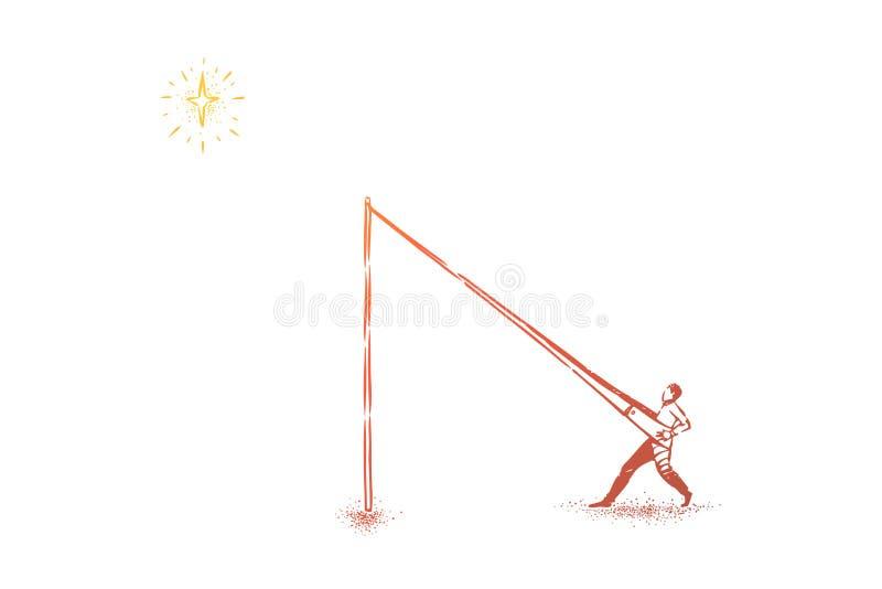 Επίτευξη της μεταφοράς αστεριών, άτομο στον καταπέλτη που ωθείται στον ουρανό απεικόνιση αποθεμάτων