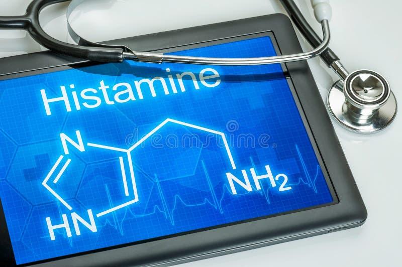 Επίδειξη με το χημικό τύπο της ισταμίνης στοκ φωτογραφίες