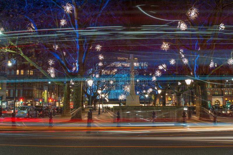 Επίδειξη φω'των Χριστουγέννων στη Chelsea, Λονδίνο, UK στοκ εικόνες