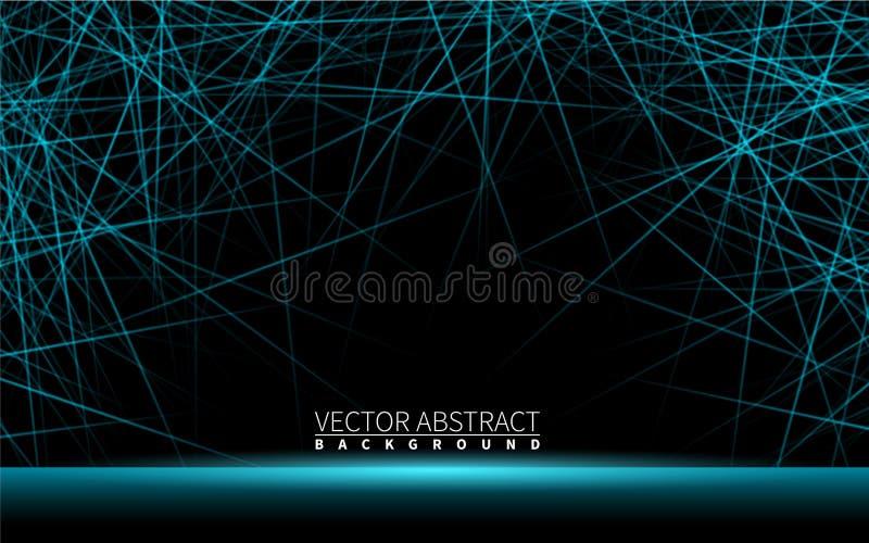 Επίδρασης λαμπρά νέου μπλε στοιχεία σχεδίου γραμμών ρεαλιστικά επίσης corel σύρετε το διάνυσμα απεικόνισης Αφηρημένο μαύρο σύγχρο διανυσματική απεικόνιση