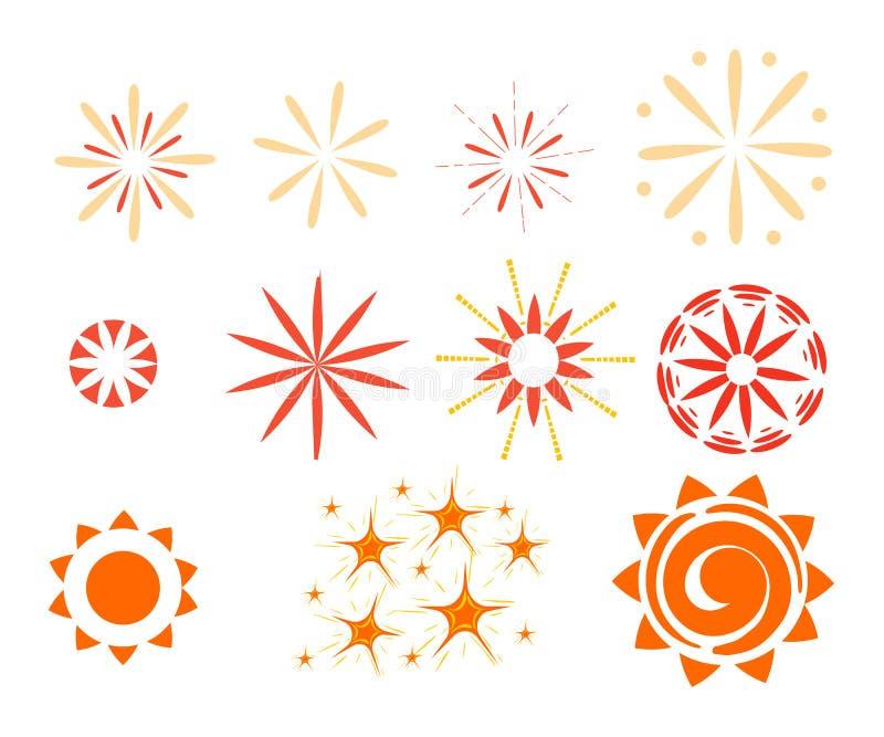 Επίδραση που απομονώνεται στο άσπρο υπόβαθρο Σπινθηρίσματα, starbursts και πυροτεχνήματα ελεύθερη απεικόνιση δικαιώματος