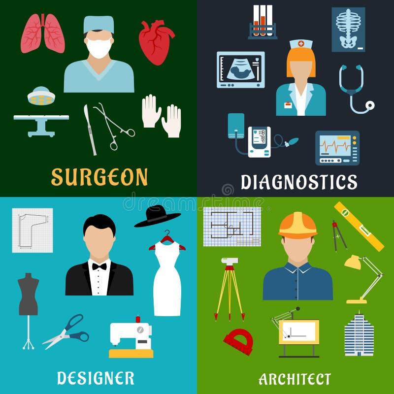 Επαγγέλματα ιατρικής, σχεδίου και κατασκευής ελεύθερη απεικόνιση δικαιώματος