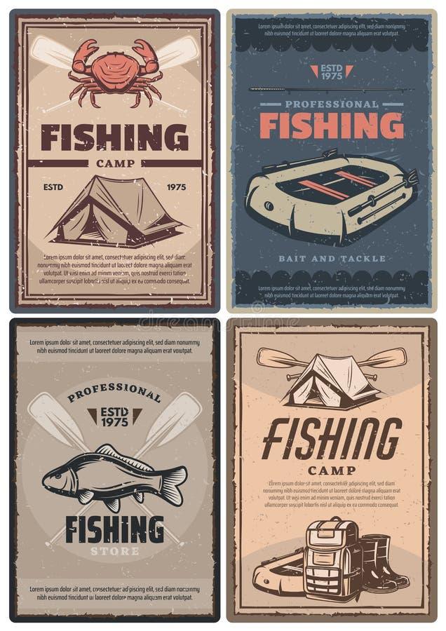 Επαγγελματικές αναδρομικές αφίσες καταστημάτων και στρατόπεδων αλιείας απεικόνιση αποθεμάτων