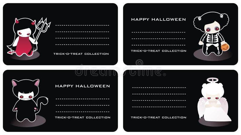 επαγγελματικές κάρτες αποκριές διανυσματική απεικόνιση