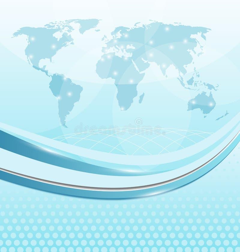 Επαγγελματική κάρτα με τον παγκόσμιο χάρτη διανυσματική απεικόνιση