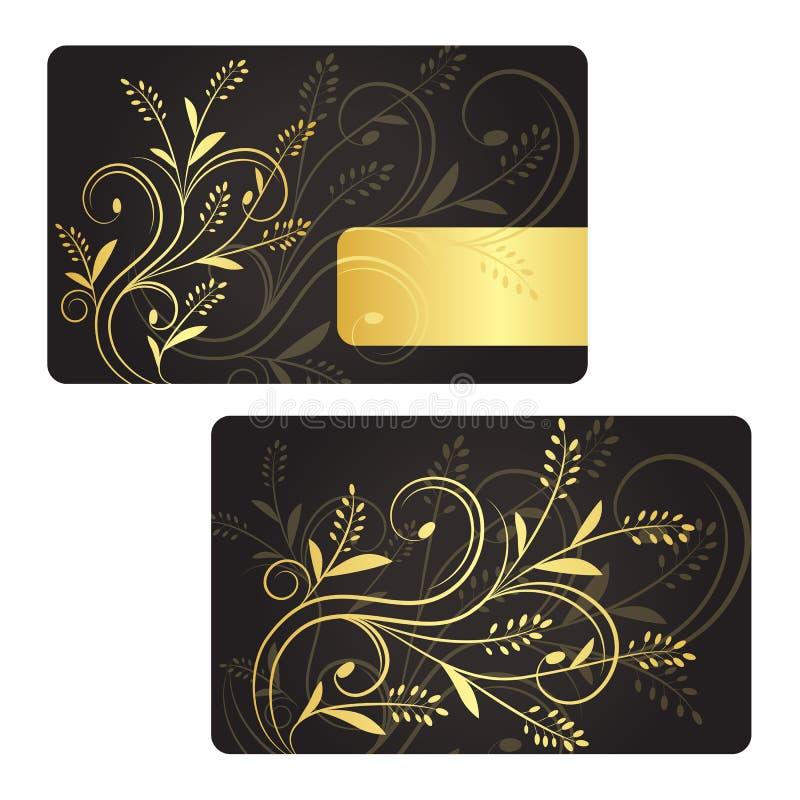 Επαγγελματική κάρτα πολυτέλειας με τη χρυσή floral διακόσμηση. απεικόνιση αποθεμάτων