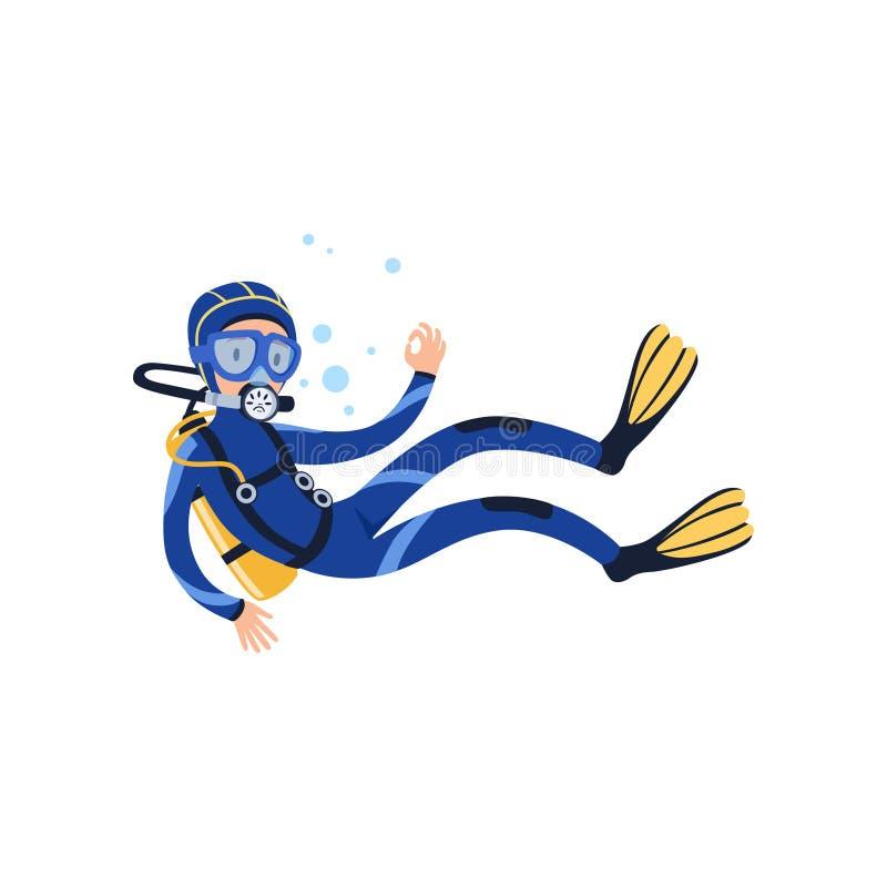 Επαγγελματική κολύμβηση δυτών υποβρύχια και παρουσίαση ΕΝΤΆΞΕΙ διανυσματική απεικόνιση