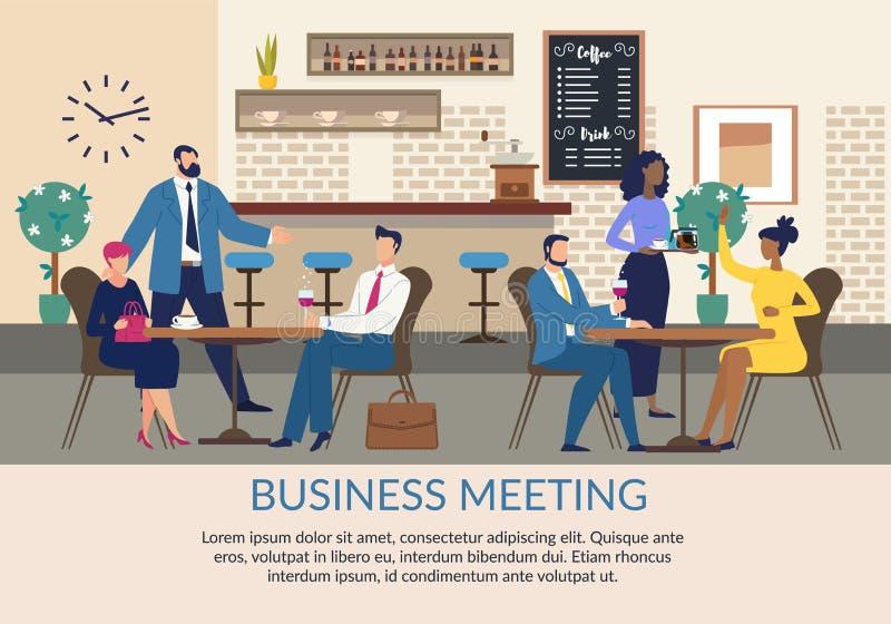 Επαγγελματική συνάντηση με επίπεδη αφίσα με κείμενο διανυσματική απεικόνιση
