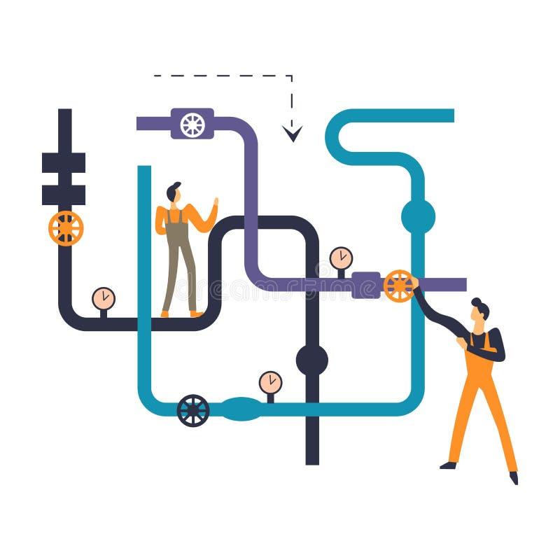Επαγγελματικοί εργάτες υδραυλικών που εξετάζουν το σύστημα σωληνώσεων του σπιτιού διανυσματική απεικόνιση