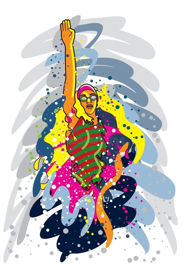 επαγγελματικός αθλητικός κολυμβητής σειράς απεικόνιση αποθεμάτων