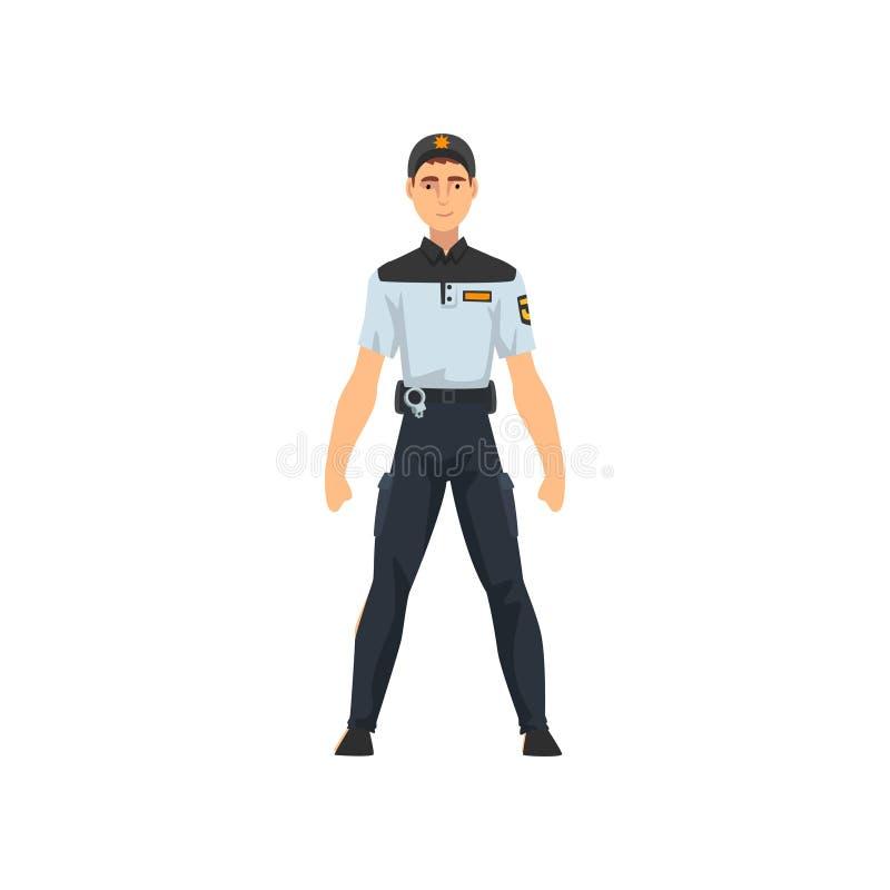 Επαγγελματικός αστυνομικός ασφάλειας, αστυνομικός στην μπλε ομοιόμορφη διανυσματική απεικόνιση διανυσματική απεικόνιση