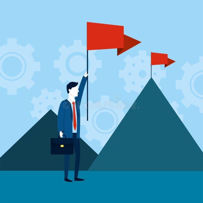 Επαγγελματικός επιχειρηματίας με τις κόκκινες σημαίες και το χαρτοφύλακα διανυσματική απεικόνιση