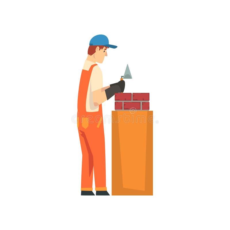 Επαγγελματικός οικοδόμος που βάζει τα τούβλα στον τοίχο, τον αρσενικό χαρακτήρα εργατών οικοδομών στις πορτοκαλιές φόρμες και την απεικόνιση αποθεμάτων