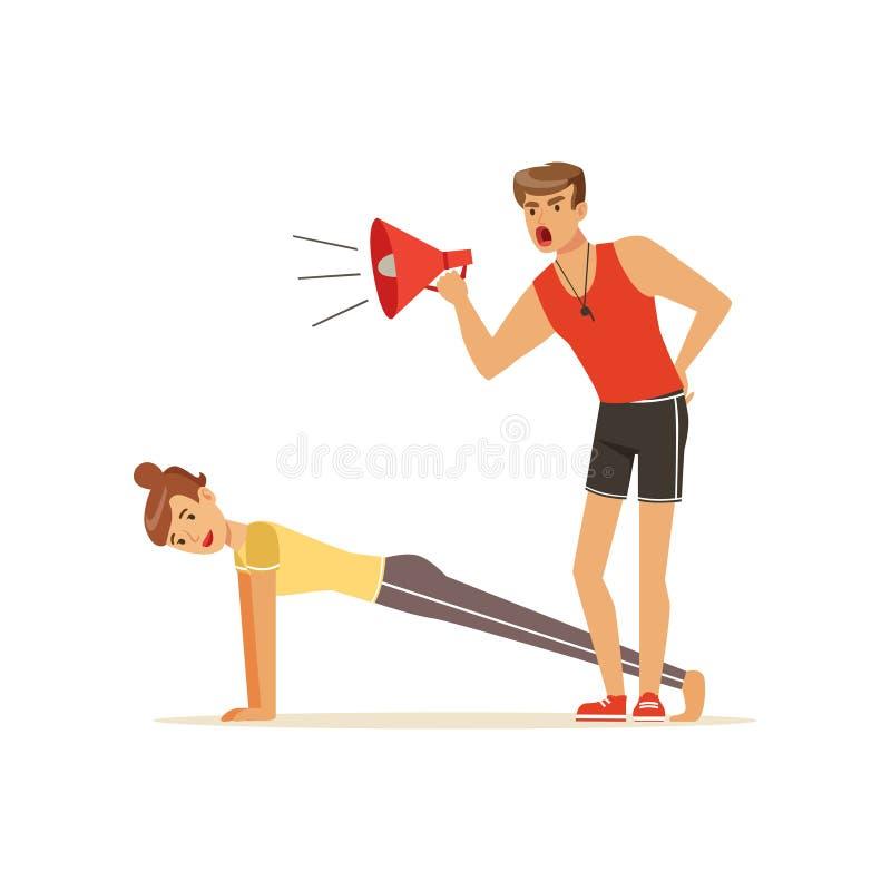 Επαγγελματικός προπονητής ικανότητας με megaphone και τη νέα γυναίκα που κάνουν μια σανίδα workout, άνθρωποι που ασκούν υπό έλεγχ απεικόνιση αποθεμάτων