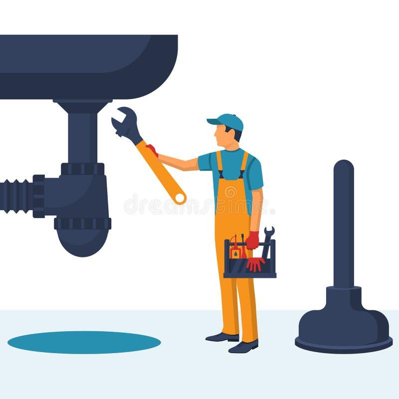 Επαγγελματικός υδραυλικός με ένα διευθετήσιμο γαλλικών κλειδιών repa χεριών λαβής διαθέσιμο ελεύθερη απεικόνιση δικαιώματος