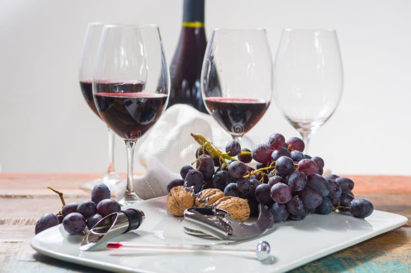 Επαγγελματικό γεγονός δοκιμής κόκκινου κρασιού με υψηλό - γυαλί ποιοτικού κρασιού στοκ εικόνες