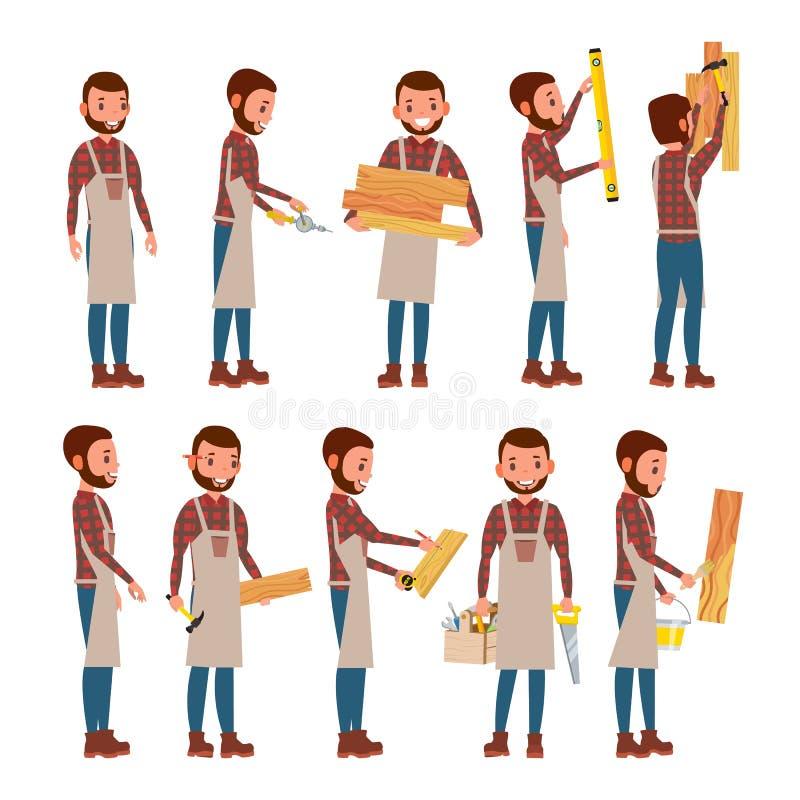 Επαγγελματικό διάνυσμα ξυλουργών επιστάτης Το αρσενικό σε διαφορετικό θέτει επάγγελμα Επίπεδη απεικόνιση κινούμενων σχεδίων απεικόνιση αποθεμάτων