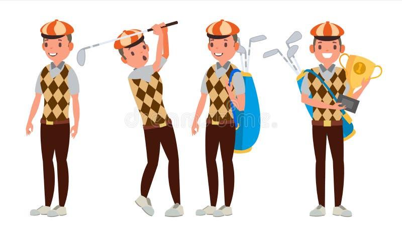 Επαγγελματικό διάνυσμα φορέων γκολφ Παίζοντας αρσενικό παικτών γκολφ Διαφορετικός θέτει Απομονωμένος στην άσπρη απεικόνιση χαρακτ ελεύθερη απεικόνιση δικαιώματος