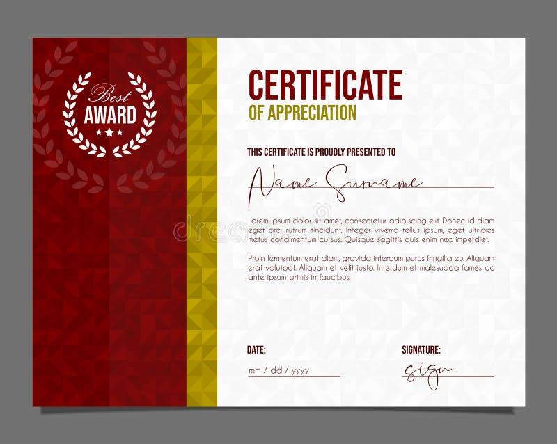 Επαγγελματικό πιστοποιητικό Δίπλωμα προτύπων με την πολυτέλεια και το σύγχρονο υπόβαθρο σχεδίων Πιστοποιητικό επιτεύγματος διανυσματική απεικόνιση