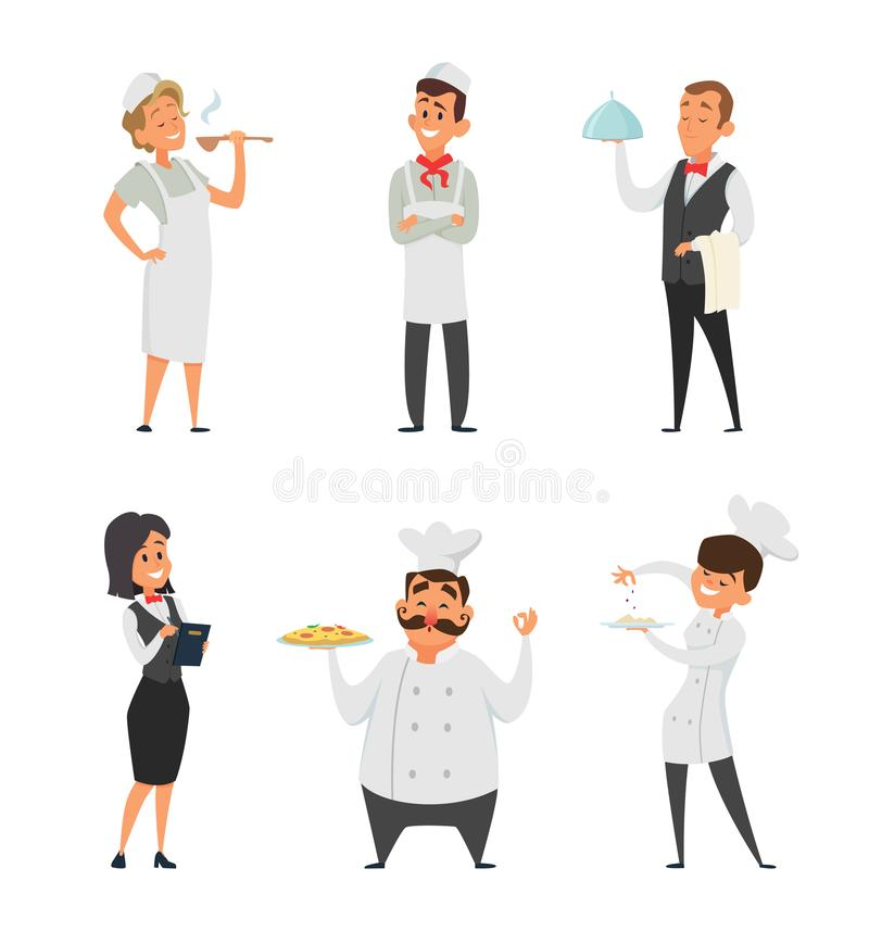 Επαγγελματικό προσωπικό του εστιατορίου Μάγειρας, σερβιτόρος και άλλοι χαρακτήρες κινουμένων σχεδίων διανυσματική απεικόνιση
