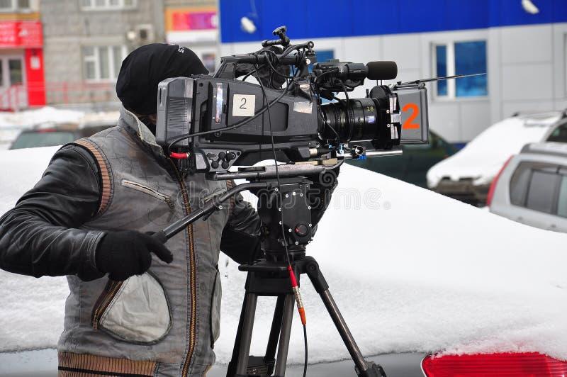 Επαγγελματικό videographer στην εργασία στοκ φωτογραφίες με δικαίωμα ελεύθερης χρήσης