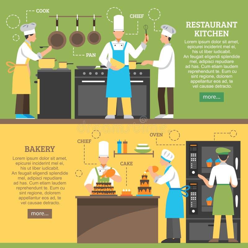 Επαγγελματίας που μαγειρεύει τα οριζόντια εμβλήματα απεικόνιση αποθεμάτων