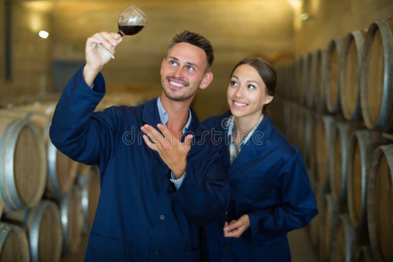Επαγγελματίες στο ομοιόμορφο κρασί γυαλιού εκμετάλλευσης στο μεγάλο κελάρι στοκ φωτογραφίες