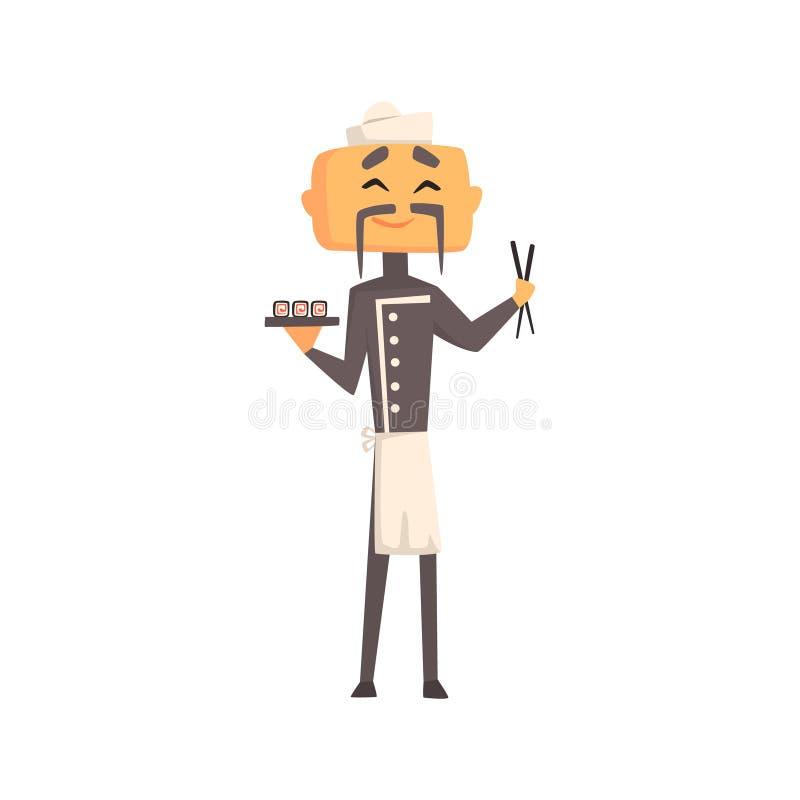 Επαγγελματικά ασιατικά Cook στο κλασικό σταυρωτό γκρίζο σακάκι και τόκα με το πιάτο των σουσιών και των ραβδιών ελεύθερη απεικόνιση δικαιώματος