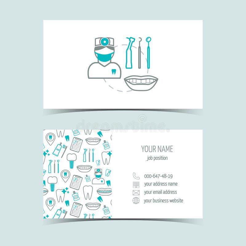 Επαγγελματικές κάρτες για την οδοντική κλινική Προωθητικά προϊόντα Εικονίδια γραμμών Επίπεδο σχέδιο διάνυσμα διανυσματική απεικόνιση