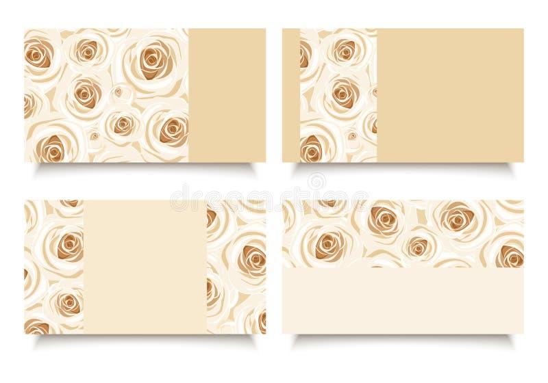 Επαγγελματικές κάρτες με τα άσπρα τριαντάφυλλα Διάνυσμα eps-10 απεικόνιση αποθεμάτων