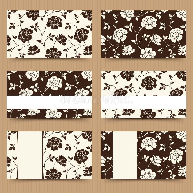 Επαγγελματικές κάρτες με το καφετί και άσπρο floral σχέδιο επίσης corel σύρετε το διάνυσμα απεικόνισης ελεύθερη απεικόνιση δικαιώματος